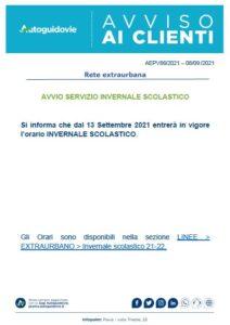 AVVISI AUTOGUIDOVIE PER ATTIVAZIONE SERVIZIO INVERNALE SCOLASTICO
