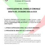 CONVOCAZIONE DEL CONSIGLIO COMUNALE SEDUTA DEL 29 GIUGNO 2020 ore 20.30