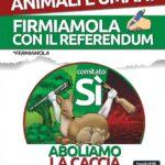 Raccolta firme per Referendum norme per la protezione della fauna selvatica e per il prelievo venatorio